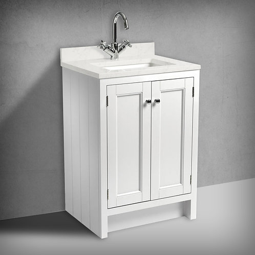 Hampton 600 Underslung Basin Unit, Worktop & Basin White