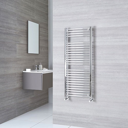 Aldo Chrome 1200 x 500mm Curved Heated Towel Rail