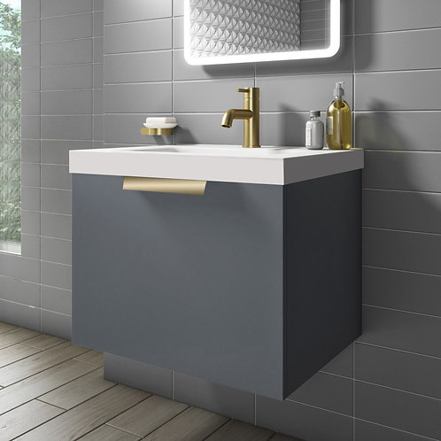 Stockholm 500mm Wall Hung Vanity Unit Midnight Grey