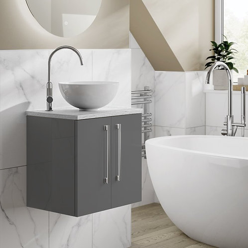 Tulusa Anthracite Wall Hung Vanity Unit With Carrera Countertop
