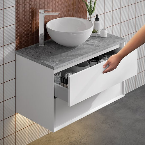 Visage White Wall Hung Vanity Unit With Dapple Grey Countertop