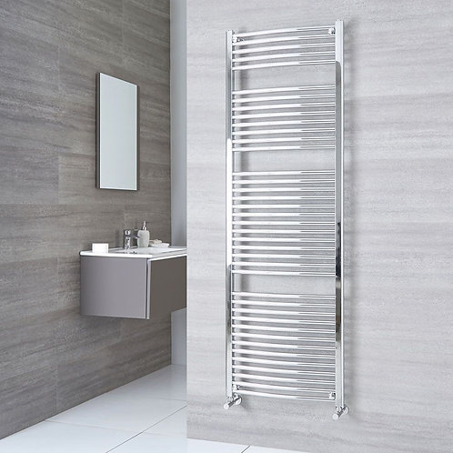 Aldo Chrome 1800 x 600mm Curved Heated Towel Rail