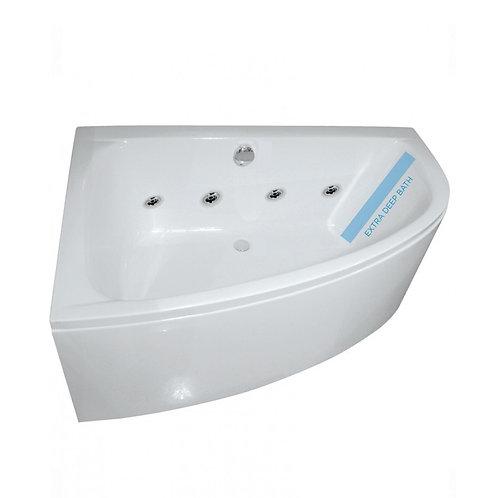 Maya 1500 Offset Corner 8 Jet Whirlpool Bath With Bath Panel