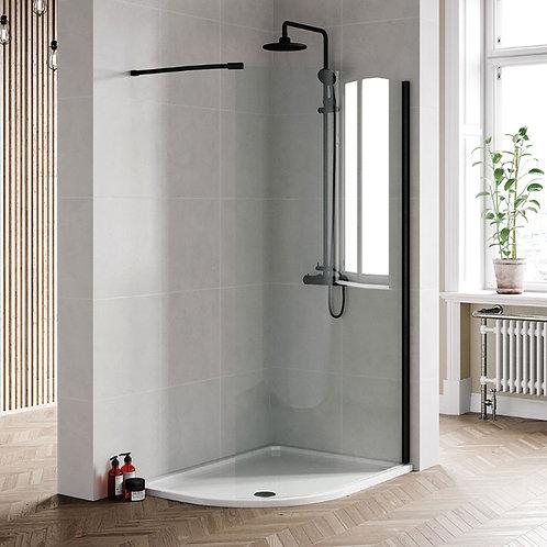 Bero 1200mm Curved Wetroom Panel Black