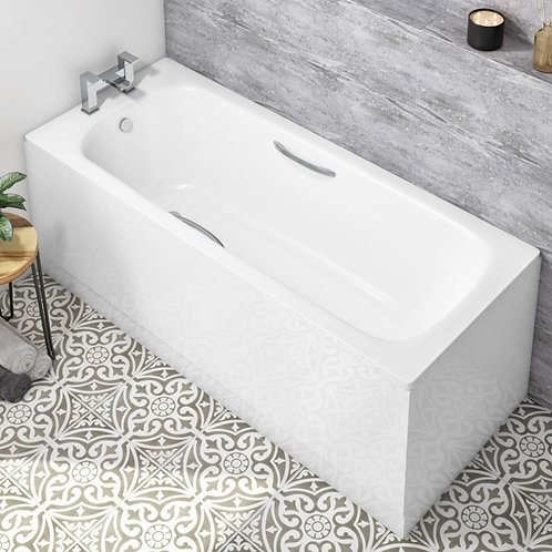 Strata Single Ended Steel Bath With Grips & Antislip