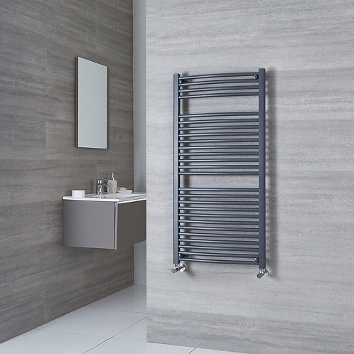 Aldo Anthracite 1200 x 600mm Curved Heated Towel Rail