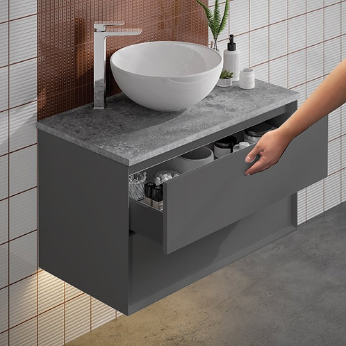 Visage Anthracite Wall Hung Vanity Unit With Dapple Grey Countertop