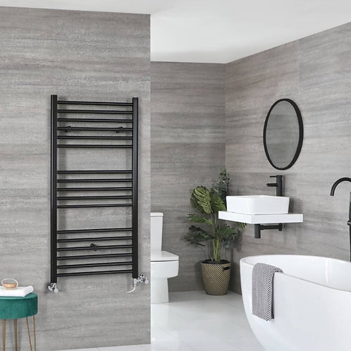 Aldo Black 1200 x 600mm Straight Heated Towel Rail
