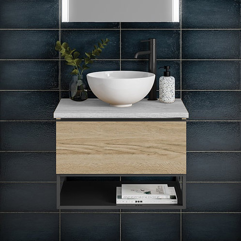 Era Matt Oak Wall Hung Vanity Unit