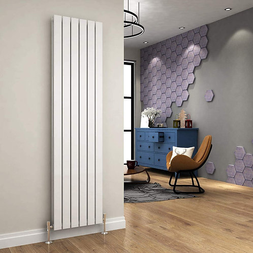 Ardea White 1800 x 462mm Double Vertical Designer Radiator