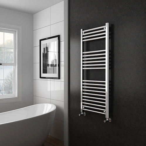 Aldo Chrome 1200 x 500mm Straight Heated Towel Rail