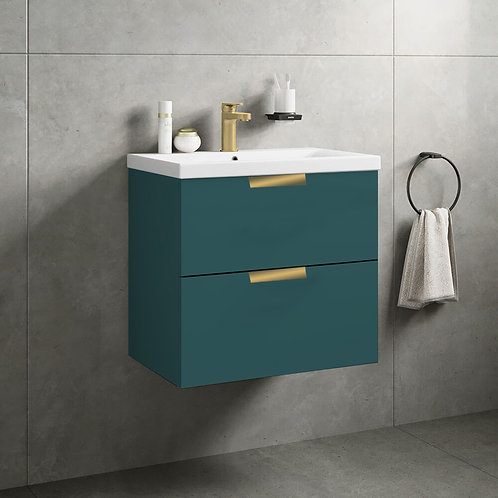 Stockholm 2 Drawer Wall Hung Vanity Unit Ocean Blue