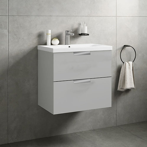 Stockholm 2 Drawer Wall Hung Vanity Unit Arctic Grey