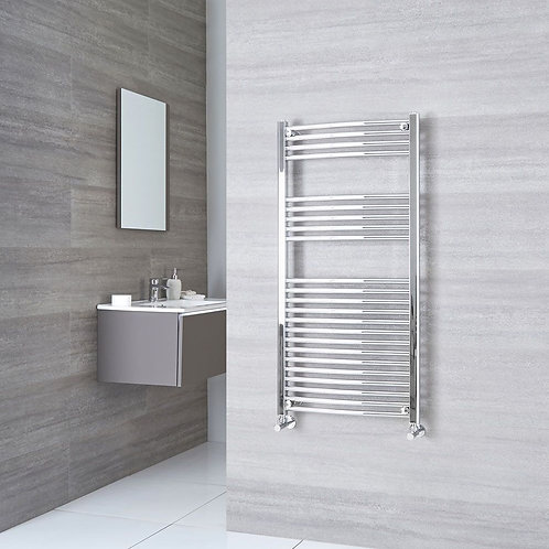 Aldo Chrome 1200 x 600mm Curved Heated Towel Rail