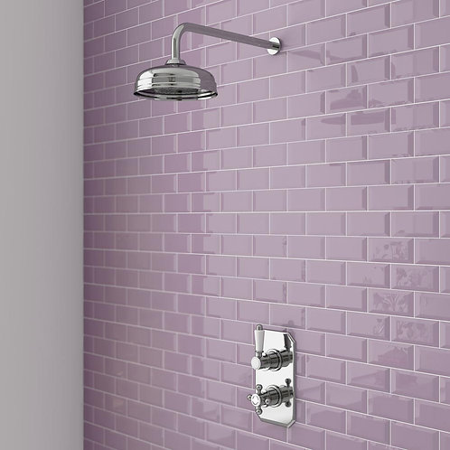 Traditional Twin Concealed Thermostatic Shower Valve Inc Fixed Head