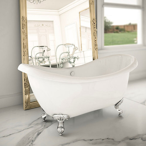 Traditional Double Slipper Freestanding Acrylic Bath