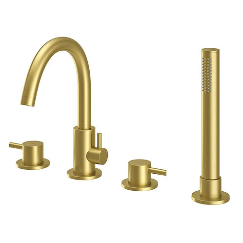 Oro 4 Hole Brushed Brass Bath Shower Mixer