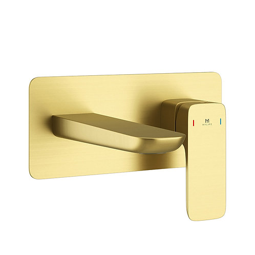 Pure Brushed Brass Wall Mounted Tap