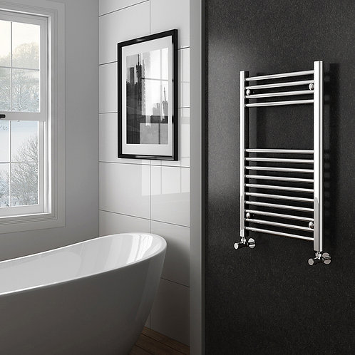 Aldo Chrome 800 x 500mm Straight Heated Towel Rail