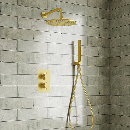Brushed Brass Concealed Shower Kit 1