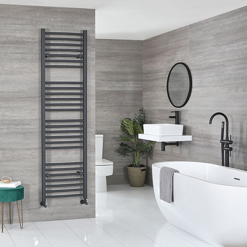 Aldo Anthracite 1800 x 600mm Curved Heated Towel Rail