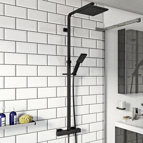 Nero Black Square Thermostatic Shower Kit