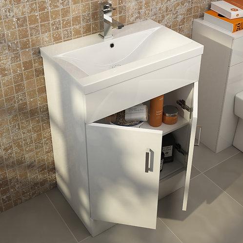Plazza High Gloss White Floorstanding Vanity Unit