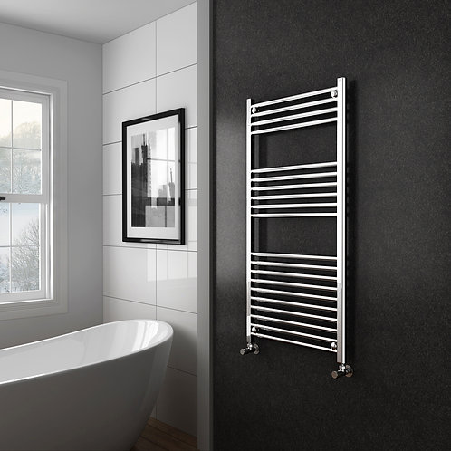 Aldo Chrome 1200 x 600mm Straight Heated Towel Rail