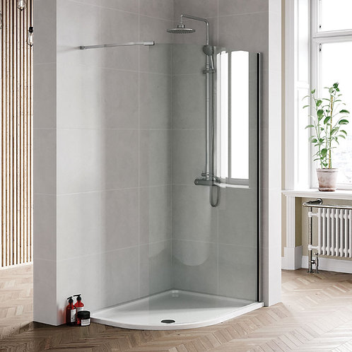 Bero 1200mm Curved Wetroom Panel Chrome