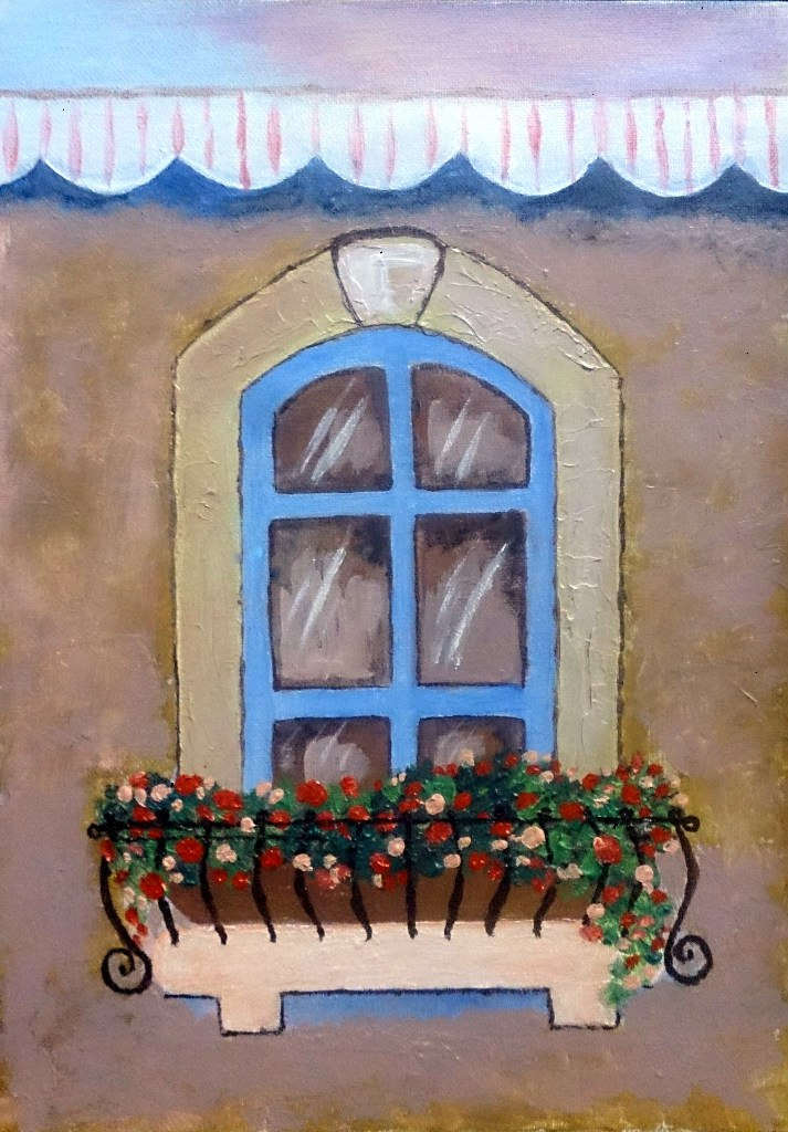 Окно. Холст, акрил, текстурная паста. 30х40 см. Гаджиева Лейла