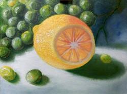 Лимон и виноград. Масло, Холст, мастихин. 30х40. Гаджиева Лейла