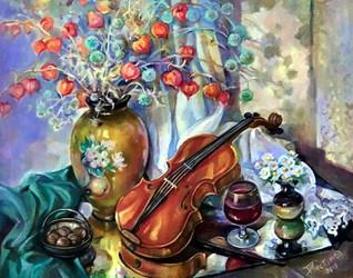 Натюрморт со скрипкой, 60х70, холст, мас