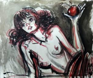 Ню. Аня с яблоком, 50х60, акварель, 2006