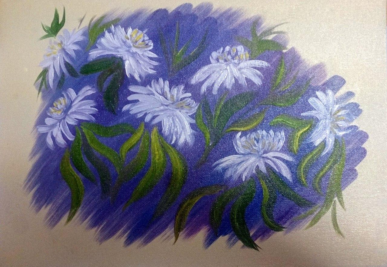 Фантазийные хризантемы. Холст, масло. 30х40 см. Гаджиева Лейла