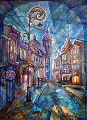 Ночь, улица, фонарь, аптека 80х60, холст