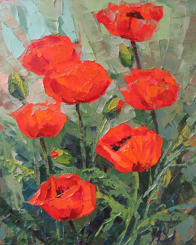 Маки в цвету 50х40 1200 р