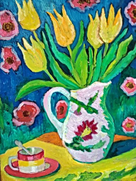 Натюрморт с тюльпанами_картон масло_40х2