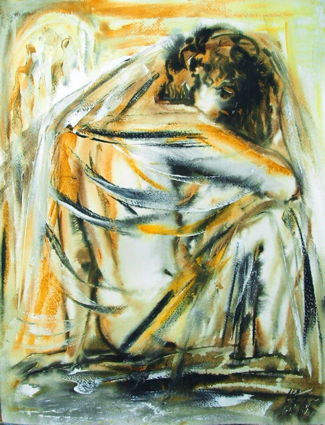 Задумчивая муза, 2005, б. акв, 70х50.jpg