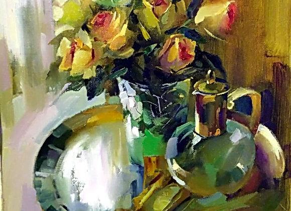 Натюрморт с розами и графином