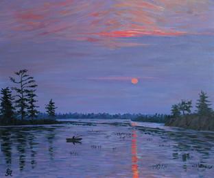 Закат над озером. 60х70, холст, масло. 1