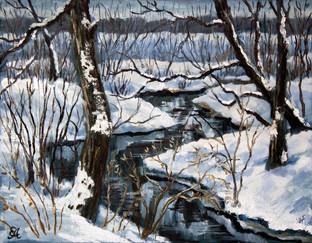 Зимний пейзаж с речкой. 35х45, холст, ма