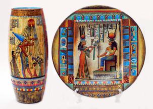 Египет. Тарелка d-25см, ваза высота 27 см. Комплект посуды из стекла. Декор выполнен в смешанной технике. Цена 12000.jpg