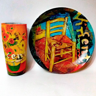 Ван Гог .Комплект из стеклянной тарелки и стакана. Декор выполнен в технике декупаж. Цена 3500.jpg