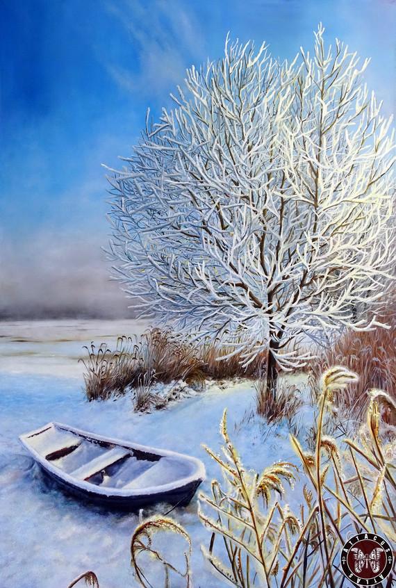 Зимняя тишина 150х100 см, холст, масло (Живопись оригинального размера 150х100 см -  110 тыс.руб., жикле 100х65см – 25 тыс.руб.)