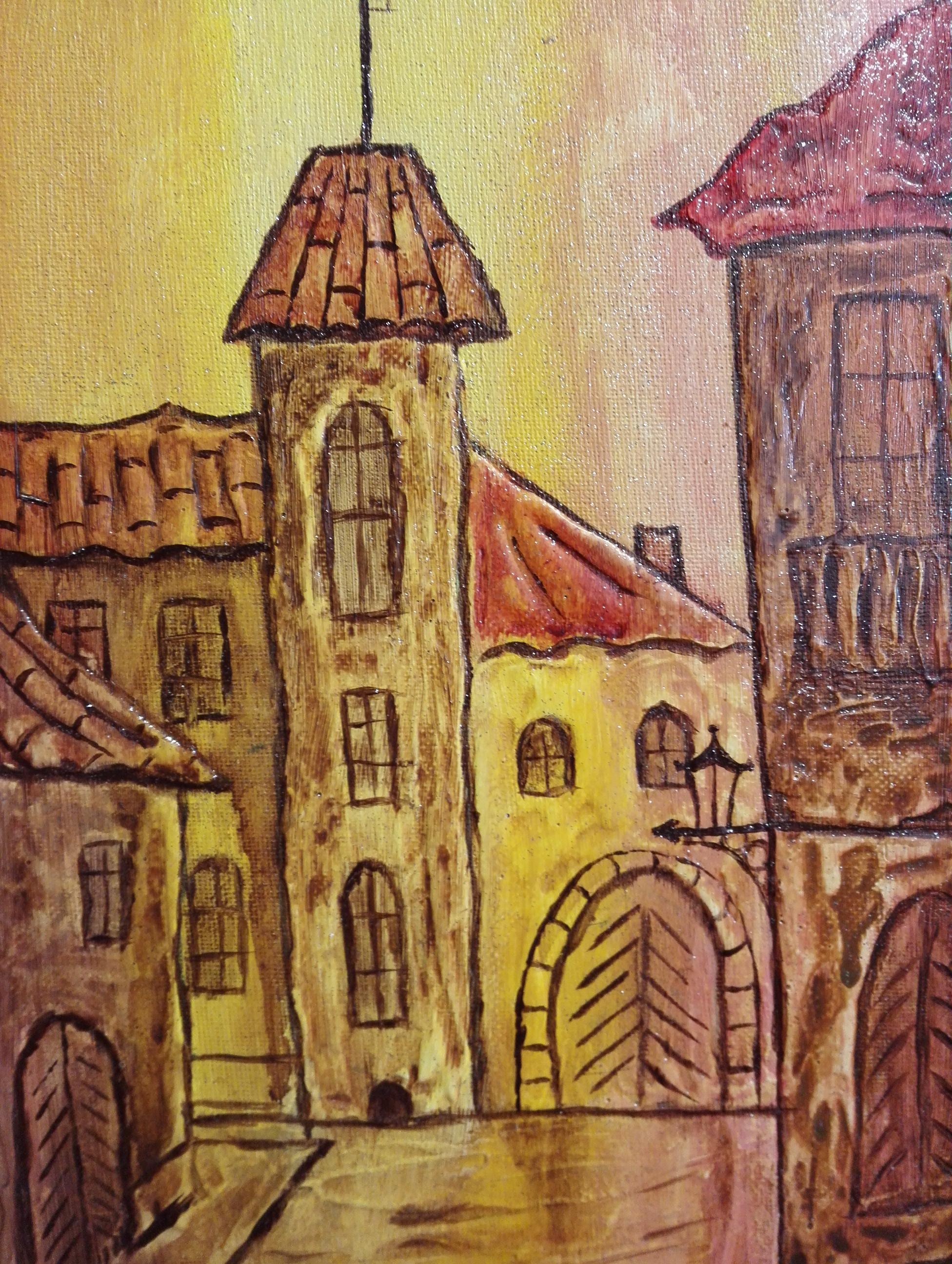 Старый город. Холст, акрил, текстурная паста, лак. 20х30 см. Гаджиева Лейла