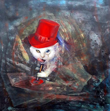 Кот, рисующий любовь 50х50 холст, масло