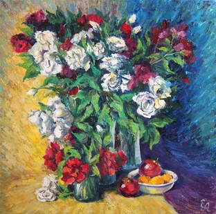 Натюрморт с розами и фруктами. 80х80, хо