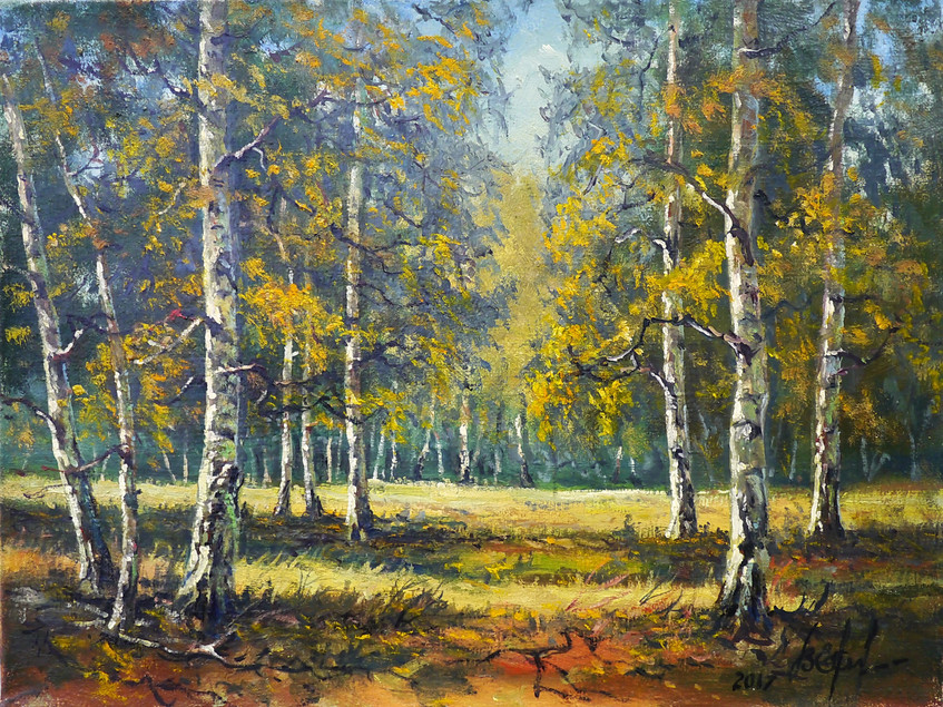 Евстюгов Владимир. В берёзовом лесу. х.м. 40х30см - 7