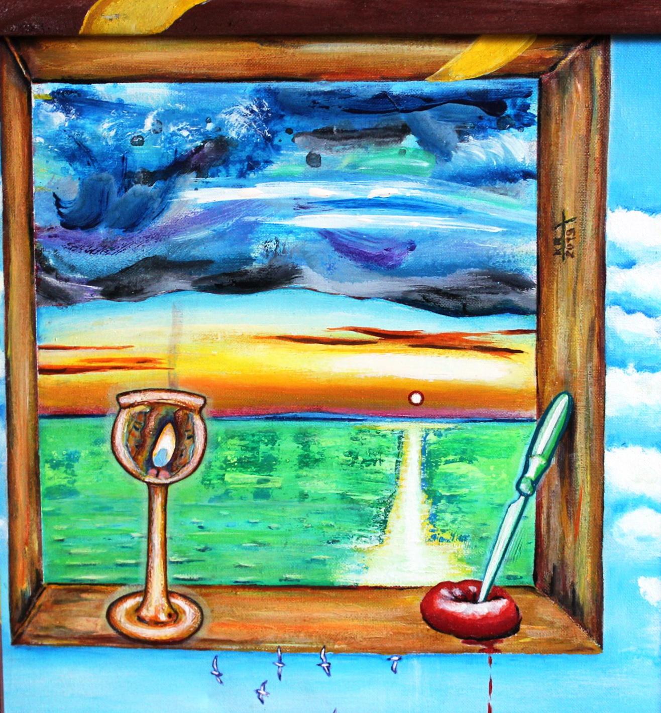 Вид из окна, 40х40, холст, акрил