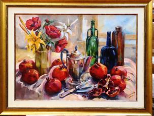 Соломко Жанна Натюрморт с кофейником и гранатами, холст, масло, 50х70 – 16 тысяч рублей.jpg